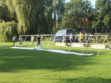 Opsætning af telte til RAP om KAP i Munke Mose